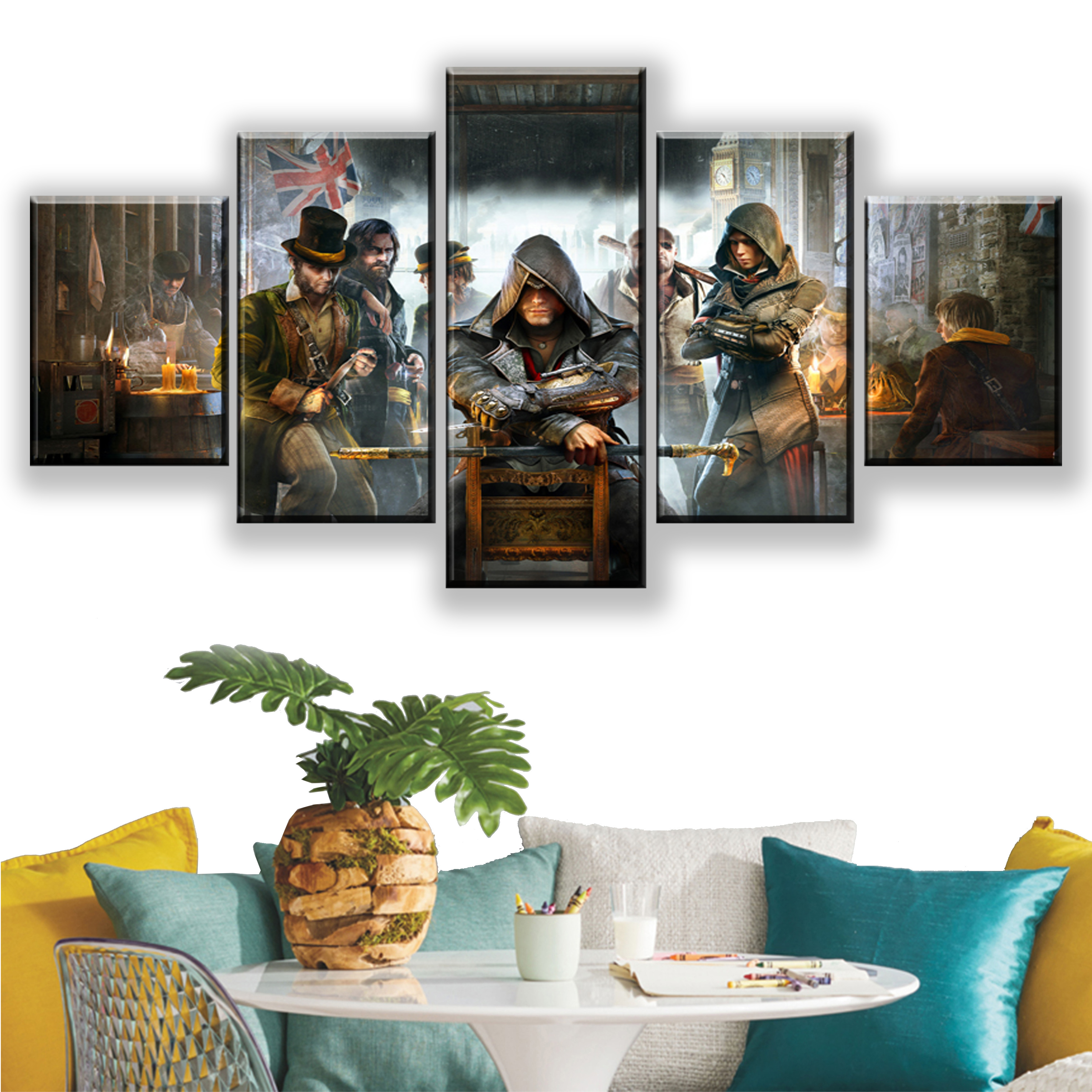 HD 5 Pieces Assassins Creed Canvas Print Printed Video Games Canvas Paintings Posters Wall Art Prints Home Decoration Framework image