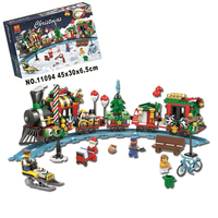 11094 Christmas Advent Calendar Santa Claus Train Journey Figures Building Blocks Toys Compatible with Legoings Christmas Gift