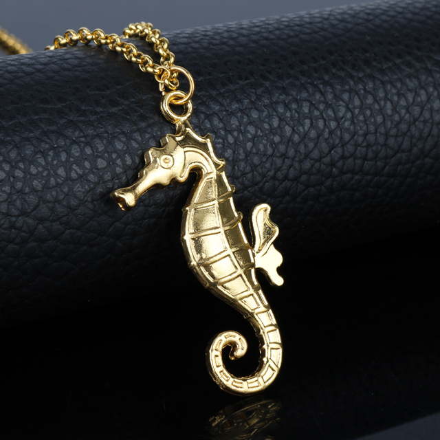 Dongsheng hippocampus pendant necklace gold seahorse necklace animal dongsheng hippocampus pendant necklace gold seahorse necklace animal metal for women girl necklace 30 aloadofball Gallery