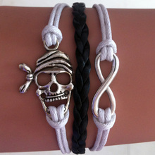 Cool Wholesale Braided Leather Skull Head Infinity wrap link bracelet Bangle Wristband For Man men Gift