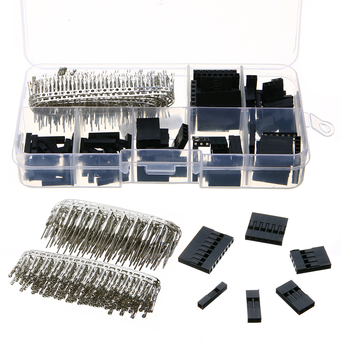 370pcs 2.54mm Dupont Crimp Pin Connector Header Jumper Wire Terminal Housing Kit with Box 18-26AWG 620pcs dupont wire cable jumper pin header connector housing kit male crimp pins female pin connector terminal pitch with box