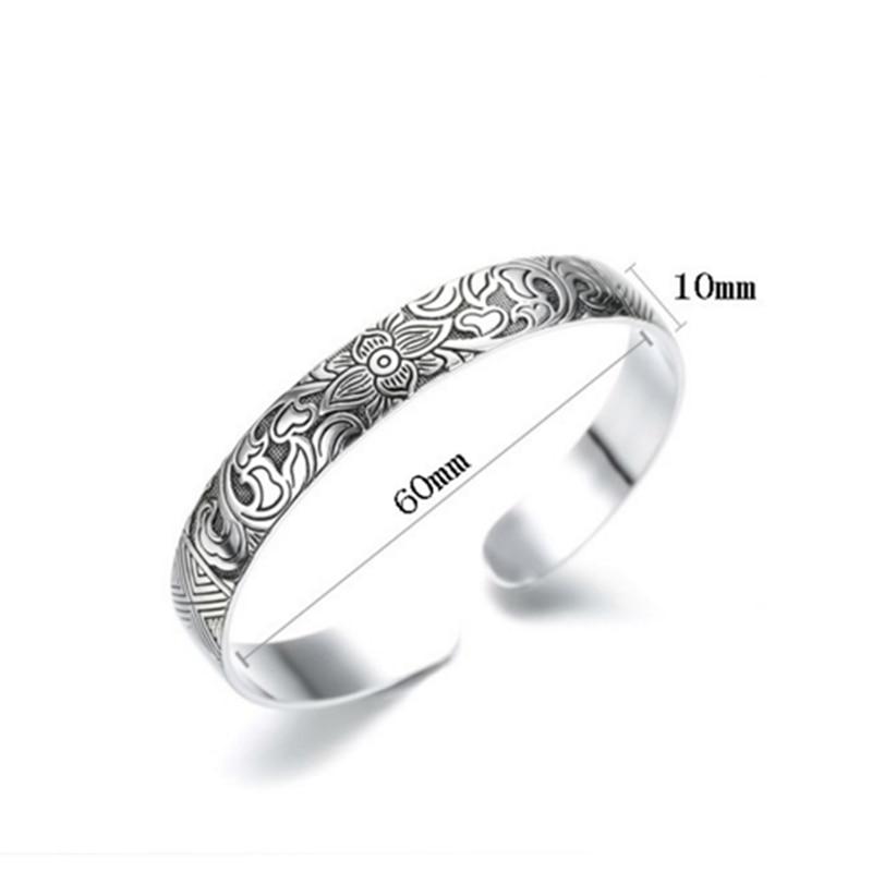 Women's Silver Lotus Bangle Bracelet 4