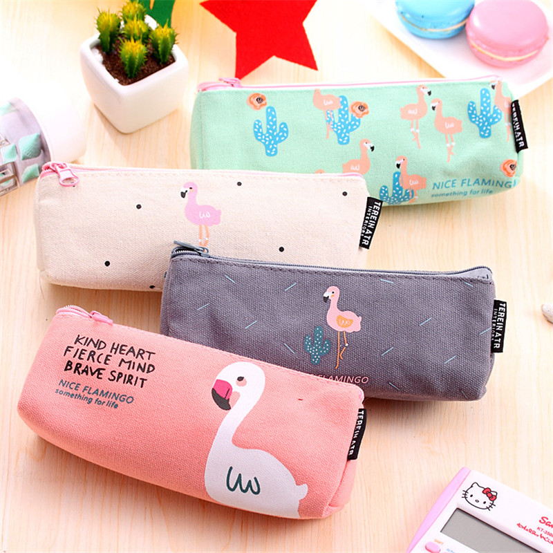 Lovely Cartoon Flamingo Canvas Pencil Case Stationery Store Cute Kawaii Pen Bag Pouch School Holder Pencilcase Supply Purse Bts