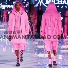 Dj певец бейонсе острые куриные с п . сценические костюмы розовый ремешок хип-хоп китель + брюки + жилет костюм