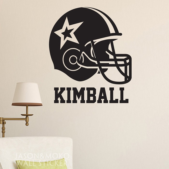 Football Helmet Name Vinyl Wallpaper Custom Kids Vinyl Sticker Wall Sticker Home Decoration wallpaper 50cmX60cm Free Shipping