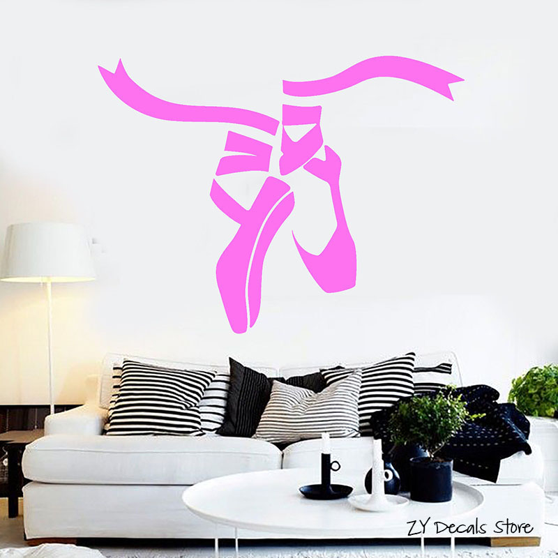 Ballet Dance Studio Shoes Wall Stickers Removable Dance Studio Decoration Wall Decals For Gilrs Bedroom Art Mural L363