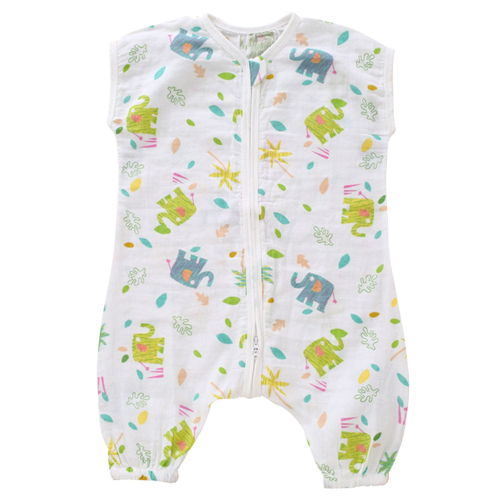 Summer Infant Cotton Two-layer Gauze Split Leg Sleeping Bag Baby Air-conditioned Short-sleeved Pajamas Children Anti-kick