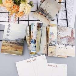 30 листов ваш картина с изображением города Ретро винтажная открытка Рождественская подарочная карта желание Плакат карты