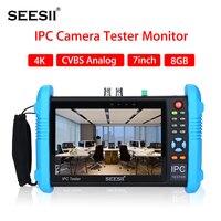 SEESII 9800 плюс 7 дюймов 4k 1080P IPC Камера CCTV тестер монитора CVBS аналоговый Сенсорный экран с POE HDMI ONVIF WI FI 8 ГБ TF карты