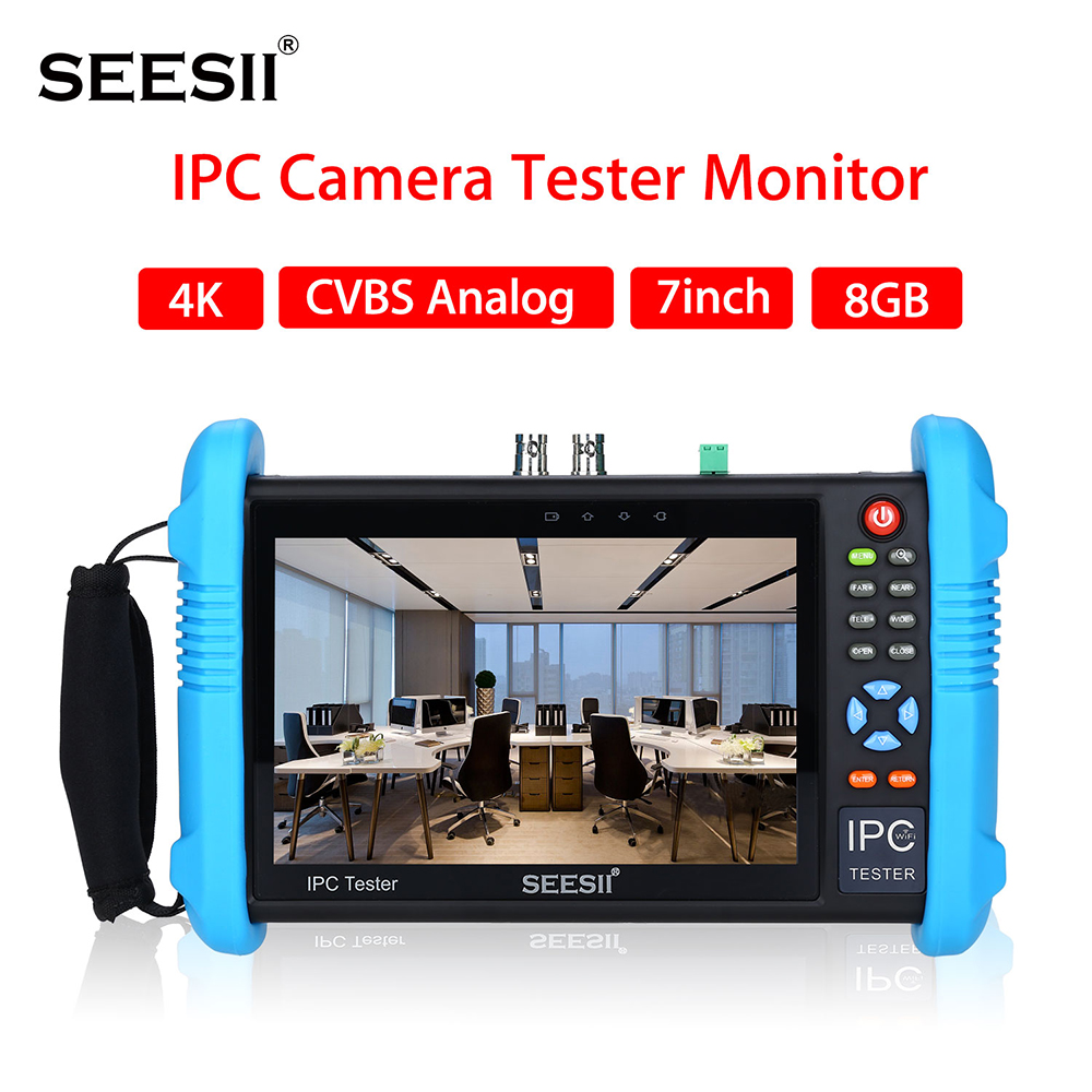 SEESII 9800PLUS 7 inch 4K 1080P IPC Camera CCTV Tester Monitor CVBS Analog Touch Screen with POE HDMI ONVIF WIFI 8GB TF Card