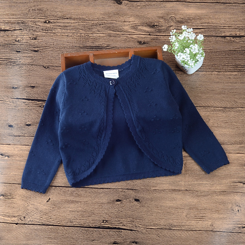 2020 Spring Navy Blue Baby Girls Outerwear Single Button Cardigan Sweater Baby Girls Jacket <font><b>6</b></font> <font><b>12</b></font> <font><b>24</b></font> Month Baby Clothes 185062 image