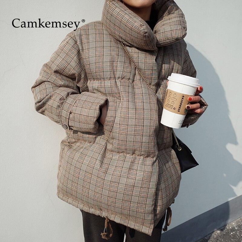 CamKemsey 2019 Nouvelle Mode Vintage Plaid Manteaux D'hiver Femmes Casual Bib Stand Col Épais Chaud Vers Le Bas Coton Rembourré Vestes D'hiver