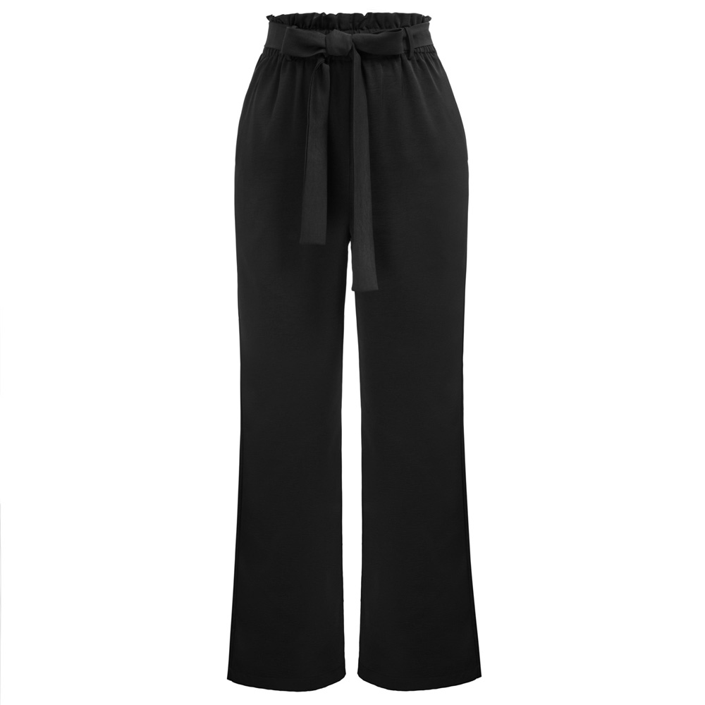 Summer Women solid Casual Elastic Waist Belt Decorated   Wide     Leg     Pants   Trousers With Pocket