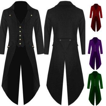 ผู้ชายวิคตอเรียเครื่องแต่งกายสีดำ Tuxedo แฟชั่น Tailcoat Gothic Steampunk แจ็ค