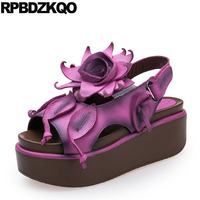 Female Designer Shoes Women Luxury 2017 Purple Flower Sandals Leaf Flatform Platform Embellished Flat Peep Toe Genuine Leather