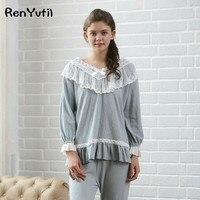 RenYvtil Women Pajamas Cotton Pajamas Suit Vintage Royal Sleepwear Set Sweet Princess Pajamas White Comfortable Clothes