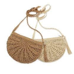 Straw Bag Women Handbags Boho Handmade Woven Shoulder Bag Crossbody Rattan Beach Bags Summer Vacation