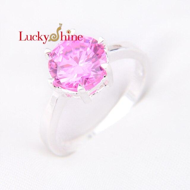 498 Promotion Bijoux Luckyshine Ronde Feu Rose Kunzite Argent Plaqué Anneaux De Mariage Russie Usa Vacances Cadeau Australie Anneaux Dans
