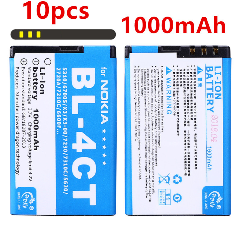 10pcs/new 1000mAh BL-4CT BL4CT Li-ion Phone <font><b>Battery</b></font> for <font><b>Nokia</b></font> <font><b>5310</b></font> 5630XM 7212C 7210C 6600F Phone <font><b>Battery</b></font> image
