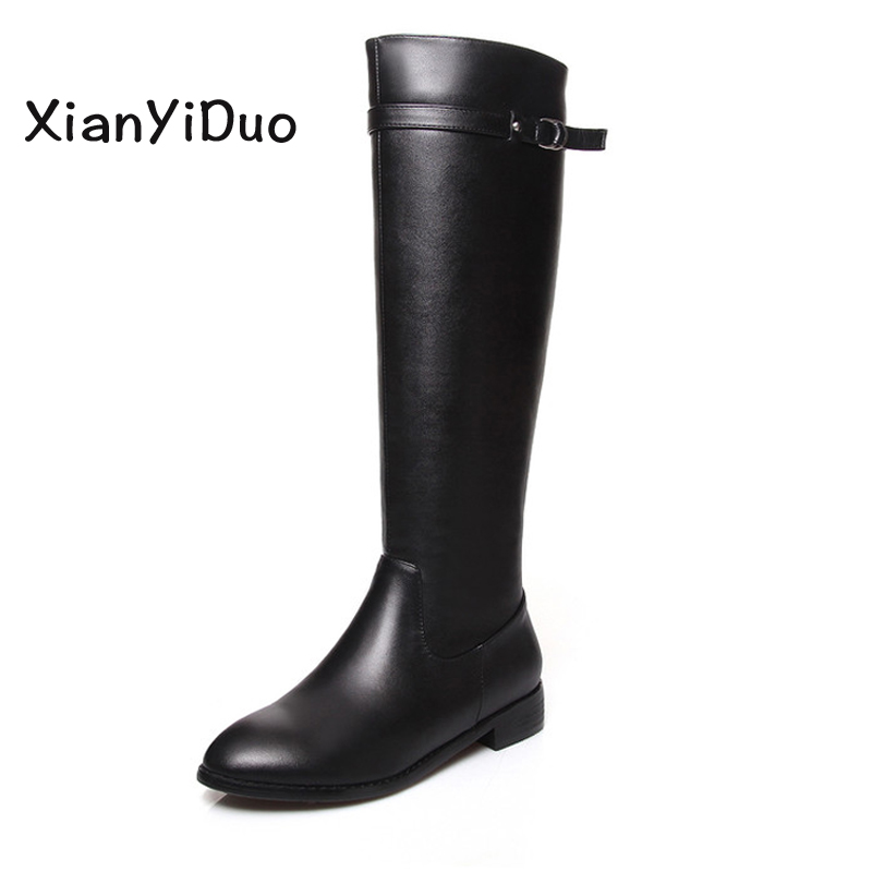 Xianyiduo shoes woman boots Round Toe Knee High black Low Heigh big large 34-41 Plus Size us9  us10  Spring/Autumn 198 nike men s lil penny knee high living large t shirt small black