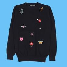 Seestern marca ropa bordada Panther Snake abeja ala del cráneo daga ojo  rayo corona flor suéter de moda Otoño 08177c79786b