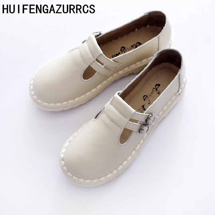 HUIFENGAZURRCS 2019 New spring summer real leather shoes original homemade shoes casual handmade retro women s