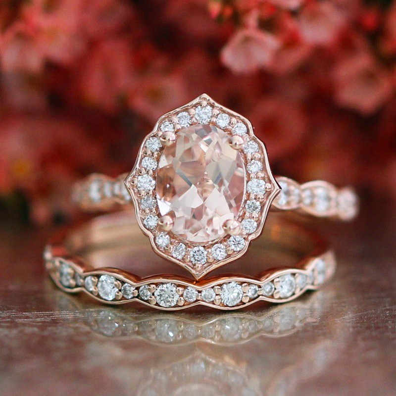 Female Big Oval Stone Ring Set Luxury 925 Silver/Rose Gold Ring Vintage Wedding Band Promise Engagement Rings For Women