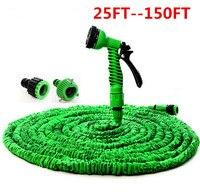Zielony i Niebieski Plastikowe Magia Extensible 25FT--100FT Elastyczny Wąż Ogrodowy Węże Wodociąg wąż Do Samochodu Z 7 Funkcji Sprayu pistolet