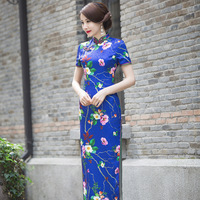 Women Long Cheongsam Patent Satin Qipao Chinese Traditional Tang Suit Evening Dress Top Quality Size S