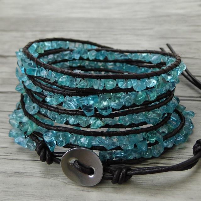 Blue Wrap Bracelet Apae Bead Raw Stone Leather Boho Long Strand