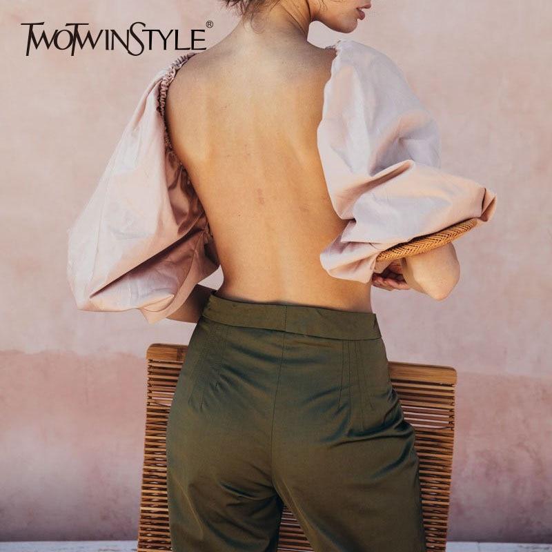 TWOTWINSTYLE Backless Short   Shirt   Female Slash Neck Lantern Sleeve Large Size Crop Top   Blouse   2019 Summer Fashion Sexy Clothing