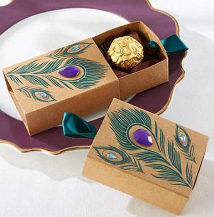 Jeweled Peacock Feather Kraft Favor Box Wedding Bridal Shower Birthday Party Candy Boxes vinatge jewelry handmade soap gift box