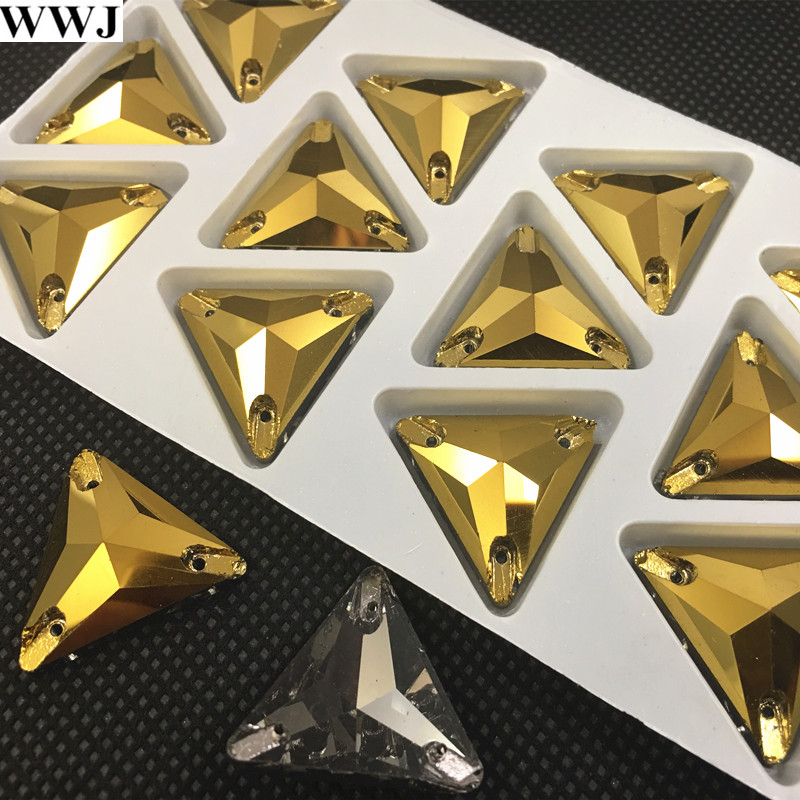 New Gold Hematite Color 3270 Tri angle 22 16 12mm Sew On Stone Flatback 3holes Sewing