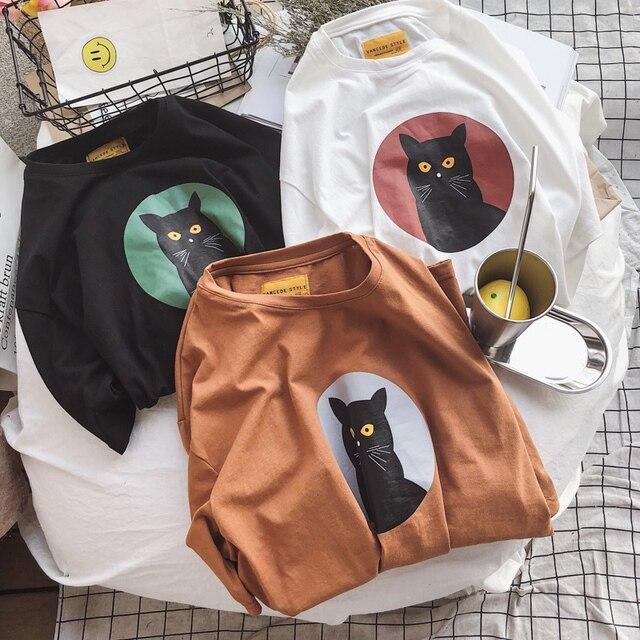 black cat womens t shirt