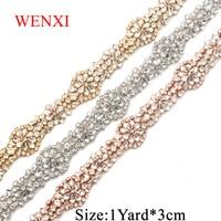WENXI 10YARDS Hand Beaded Sewing Bridal diamond Clear Crystal Rhinestone Applique Trim Iron On For bridal Dress Sash WX813