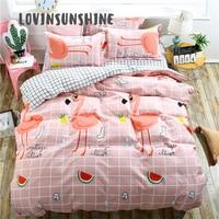 LOVINSUNSHINE Bed Linen Set Cover Bed Sheet Pillowcase Pink Fruit Party Flamingo Roupa De Cama AB#34