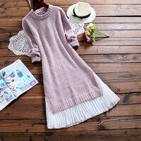 2018 Spring Autumn Women Chiffon Patchwork Knitted Sweater Dress O Neck Casual Elegant Long Sleeve Slipt Loose Midi Dresses