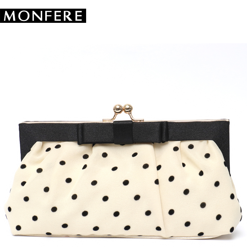 MONFER Dot Bow Day Clutch Small Women Evening Bag 2018 Party Girls Elegant Wedding Bridal Chain Frame Handbag Vintage Silk Purse yuanyu 2018 new hot free shipping real python leather women clutch women hand caught bag women bag long snake women day clutches
