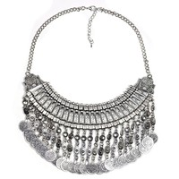 New Fashion Hot Bohemian Handmade Floral Silver Coin Tassel Necklace Pendants Choker Statement Vintage Necklace Women