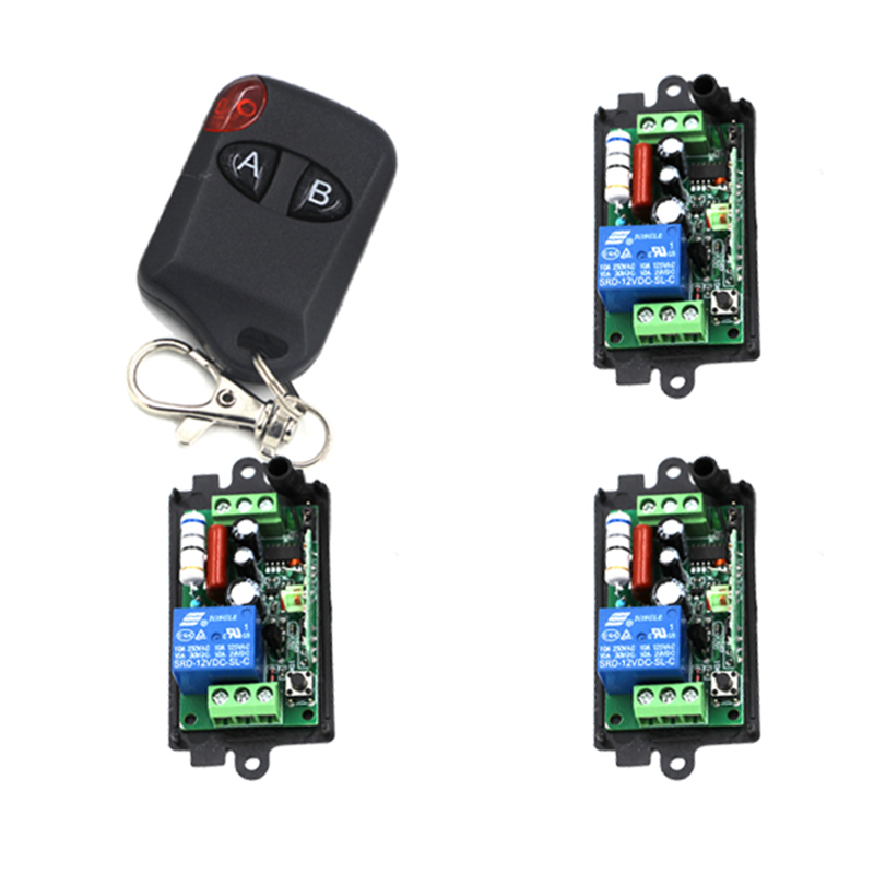 Brand New AC 220V 110V 10A Relay 1CH Wireless RF Remote Control Switch 1 Transmitter 3 Receiver Working Way Adjusted 4199