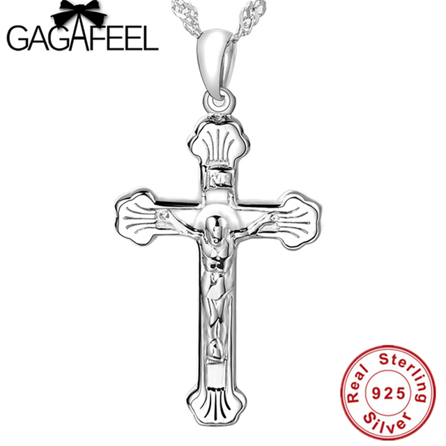 2b3ce4b909a 100% Real Pure 925 Sterling Silver Cross pendant Fit 925 Necklace Men  jewelry TOP quality