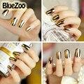 BlueZoo 1 Hoja/paquete de la Cubierta Completa de Uñas Pegatinas Nail Art Sticker Smooth Hojas del Remiendo Decoración Decal Negro Plata oro