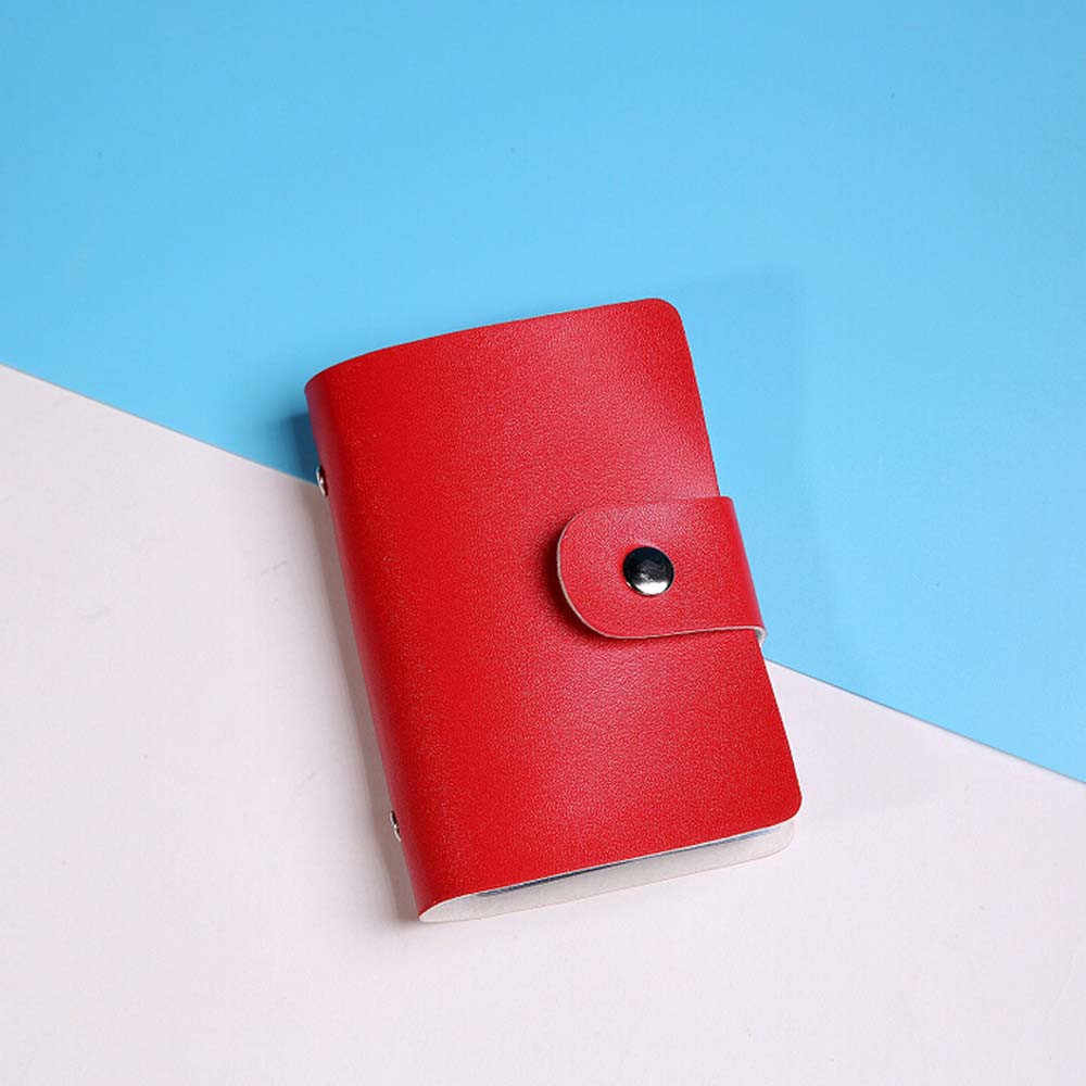 Candy Color Men Women Mini Leather Credit Card Holder Case ID Card Holder Wallet Business Card 24 Bits Cartera Mujer