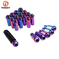 POSSBAY 20Pcs Colorful Metal Extender Tuner Caps Wheel Rim Lug Nuts 12x1.5/12x1.25 Car Wheel Nuts Universal