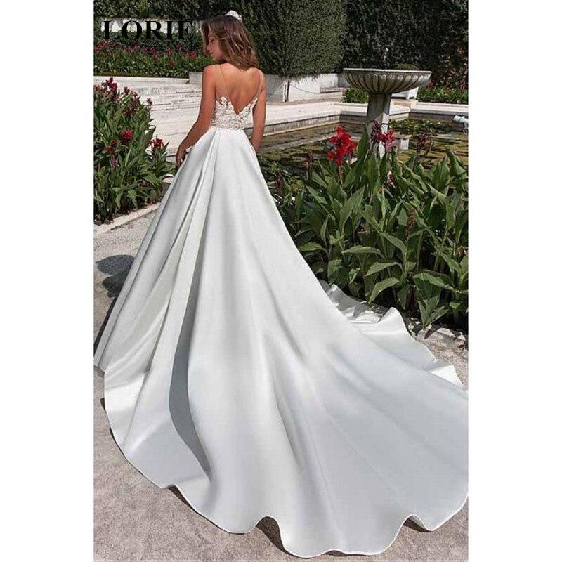 LORIE Wedding Dress 2019 Lace Top, Long Train Stain Skirt Bride Dress A-Line Sumer Beach Wedding Dresses Vestido De Casamento