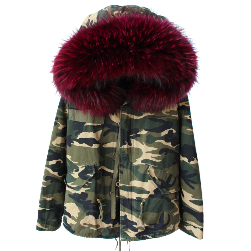 RosEvans 2017 New Women Winter Camouflage Jacket Coat Detachable Real Fox Fur Inner 100% Real Raccoon Fur Hooded Parkas B345 2017 winter new clothes to overcome the coat of women in the long reed rabbit hair fur fur coat fox raccoon fur collar