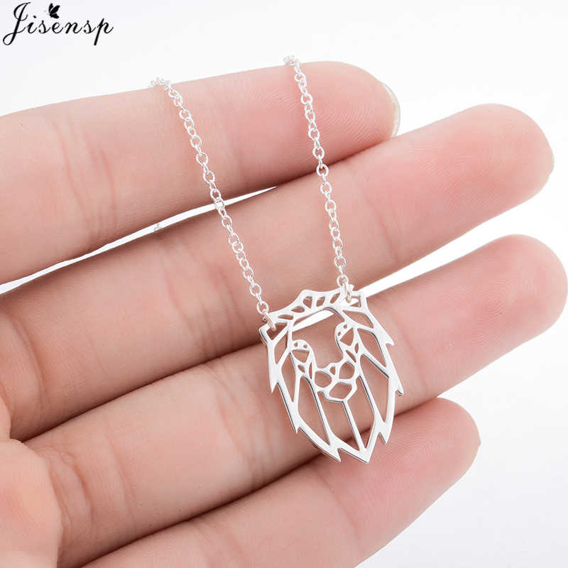 Jisensp Trendy Geometric Origami Necklace Cute Animal Jewelry Simple Lion Pendant Power Necklace Women and Men Party Accessories