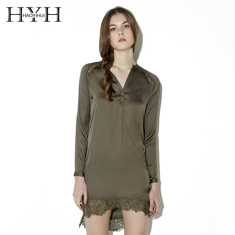 hyh haoyihui сексуальная кружевная отделка рубашка платье женщин армия