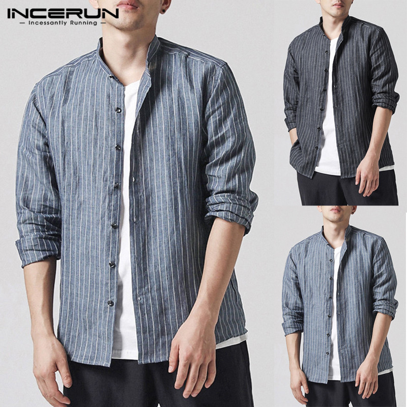 INCERUN Fashion Tee Casual Shirt Dress Long Sleeve Men Striped T Shirt Male Tops New Design Stand Collar Button Down Camisa