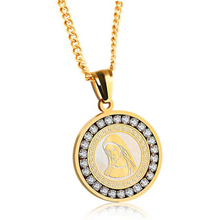 Catholicism Santa Maria round shape pendant necklace stainless steel link chain gold color necklace for men and women santa maria novella magnolia